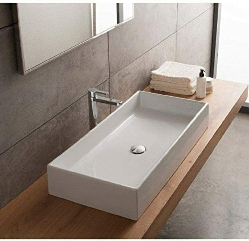 the 5 Best bathroom sinks for wheelchairs-Scarabeo Teorema Rectangular Ceramic Vessel Sink White