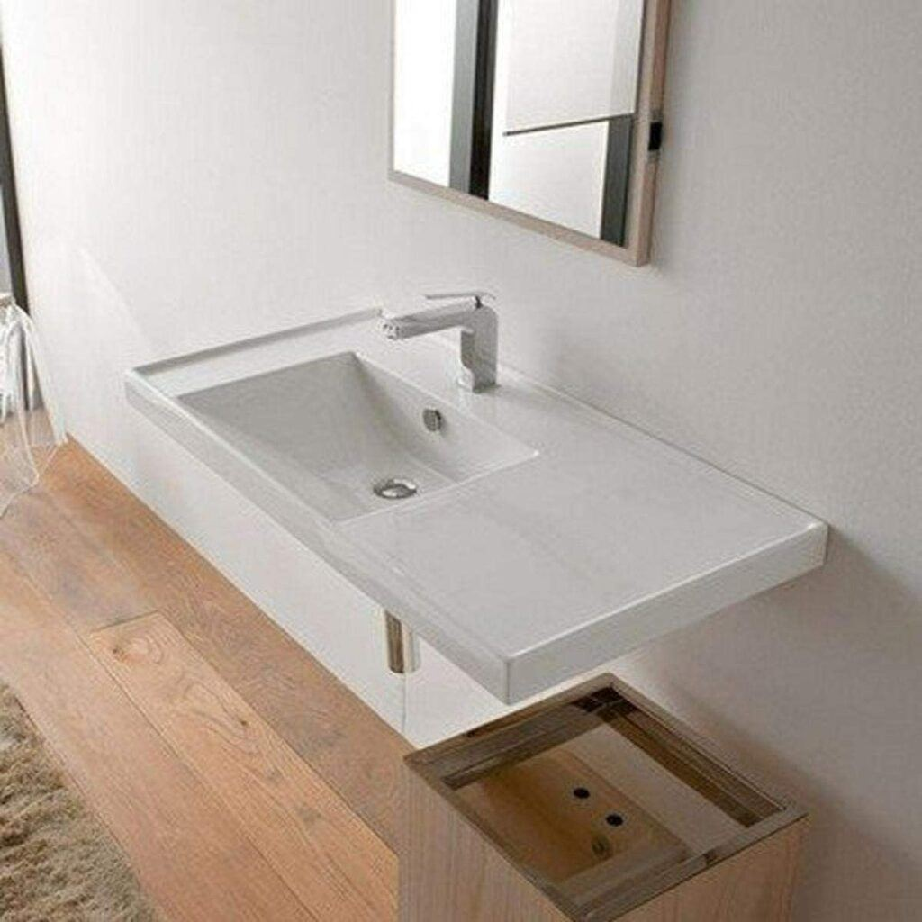 The 5 Best bathroom sinks for wheelchairs-Scarabeo Rectangular Ceramic Self Rimming/Wall Mounted Bathroom Sink