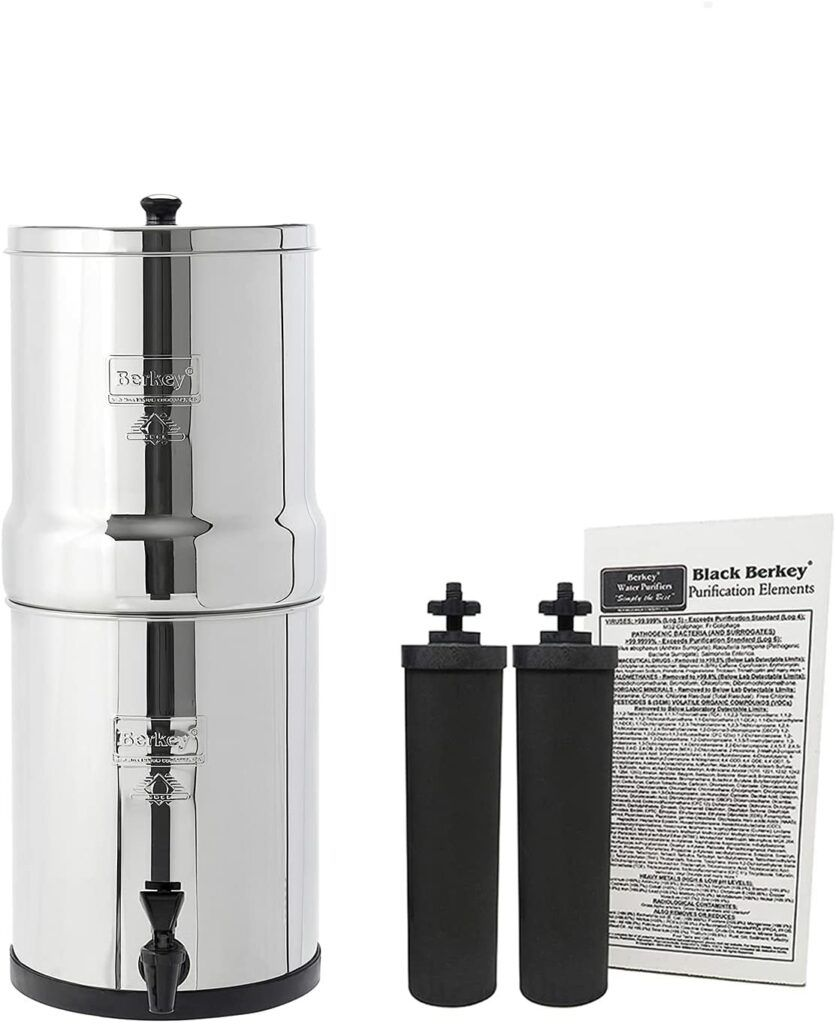 The 5 Best Countertop Water Filter Systems:Travel Berkey Gravity-Fed Water Filter with 2 Black Berkey Purification Elements